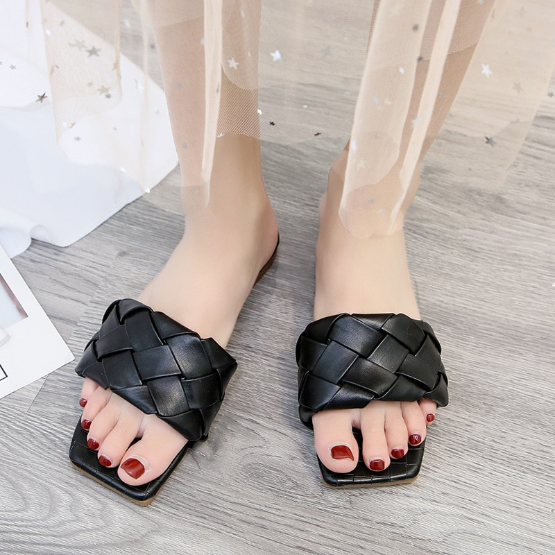 Novedad de verano, moda, de alta calidad, con entramado de cuero de PU, zapatos de punta abierta para mujer, zapatillas para exteriores, sandalias de diseño romano, sdc456