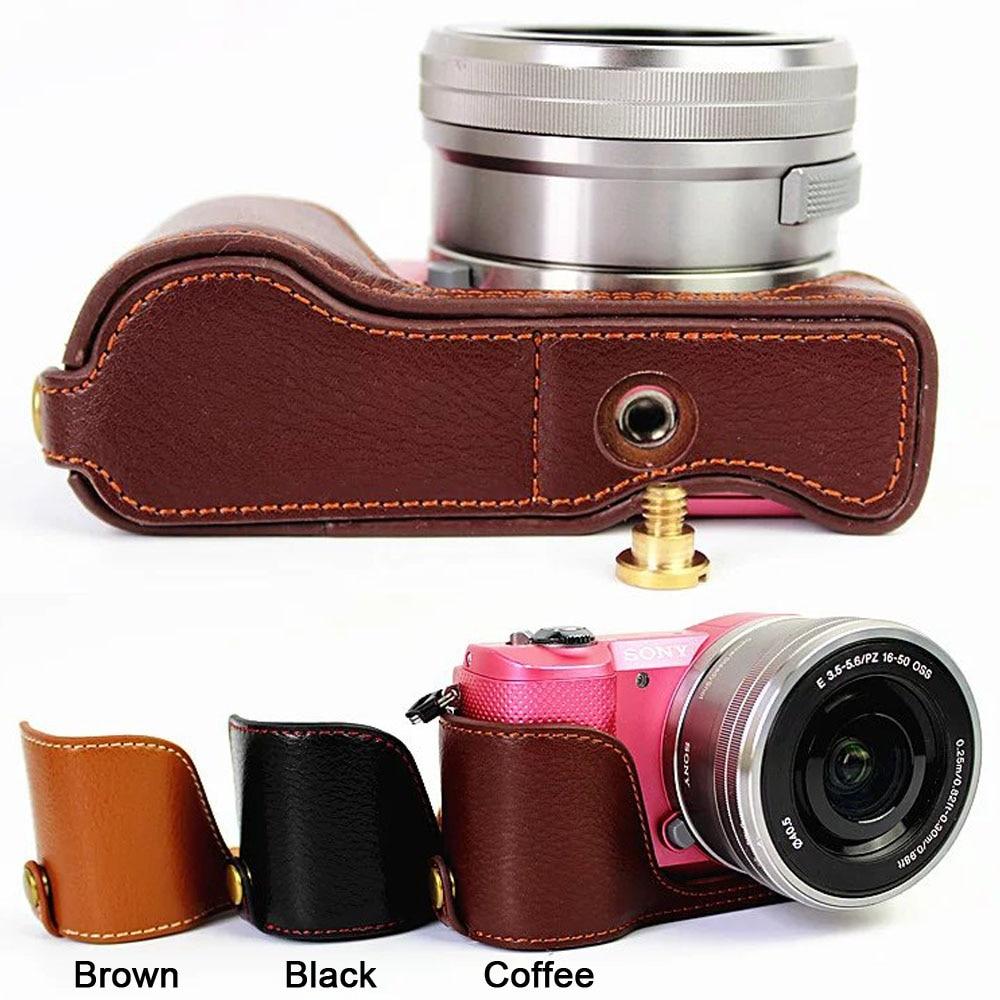 Funda protectora de cuero auténtico para cámara Sony Alpha A5000 A5100
