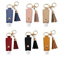 hand sanitizer bottle with tassel keychain 30ml portable empty reusable bottle pu leather key chains holder carriers