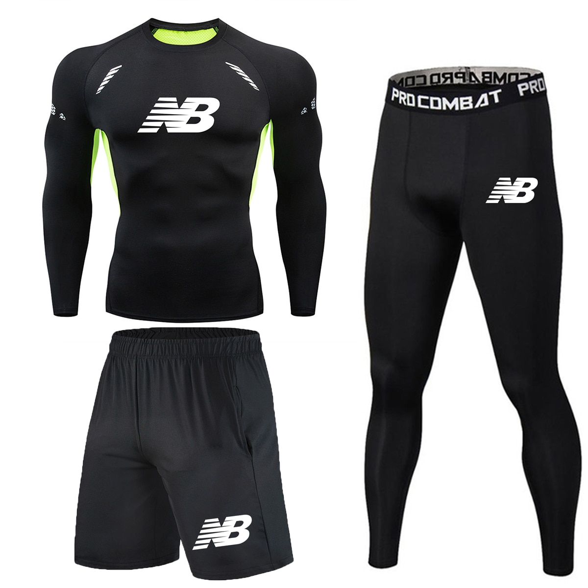 3 pieces/set of quick-drying long-sleeved compression men's sportswear, used for running, gym training, fitness, tennis, running