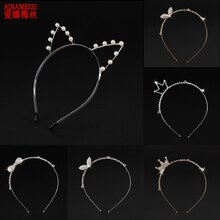 AINAMEISI Sexy Party Hair Accessories Rhinestones Girls Headband Golden Pearls Crowns Cat Ear Headbands Women Jewelry