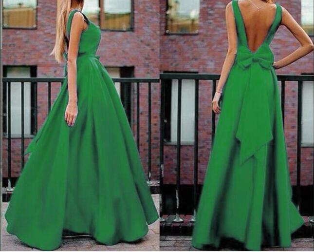 Women Long Dress Elegant ladies dress sexy V-neck bow A Line Prom maxi Dress Backless Evening Party