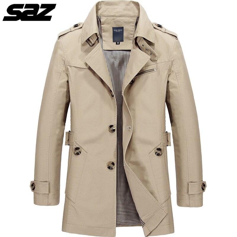 Saz رجالي ربيع الخريف 2020 جديد منتصف طول سترة القطن معطف غير رسمي للرجال