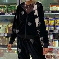 weiyao autumn winter 2021 black velvet oversized hoodies women heart diamond kawaii korean jackets casual harajuku sweatshirts