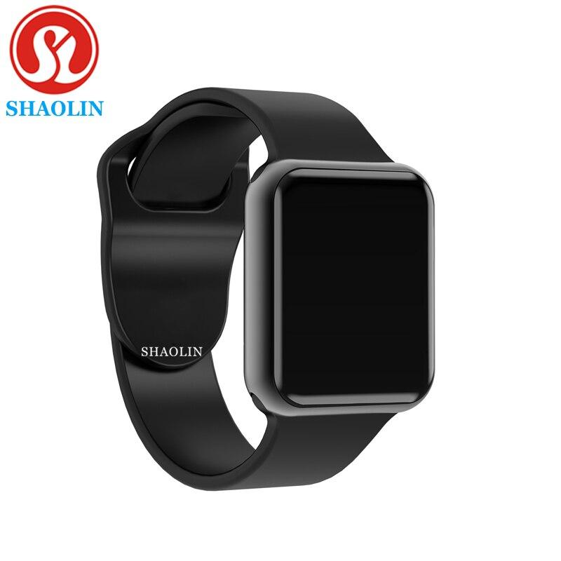 جراب ساعة بلوتوث ذكي لهاتف Apple iphone samsung xiaomi android pk ساعة ذكية apple Watch (زر أحمر)