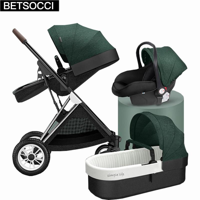 عربة أطفال BETSOCCI 2 في 1 3 في 1 عربة أطفال اتجاهين عربة بأربع عجلات روسيا شحن مجاني
