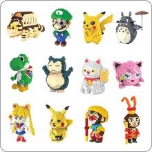 HC Super Mario Luigi Totoro bob léponge Pikachu Yoshi Kitty marin lune singe bricolage diamant Mini construction petits blocs jouet sans boîte