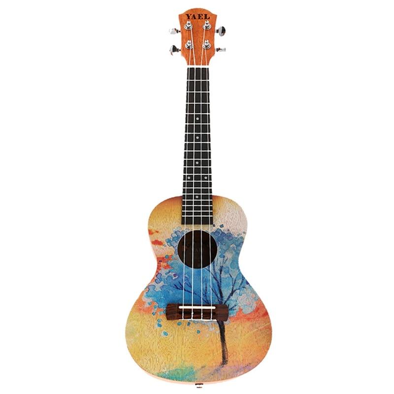 Nova yael 23 polegada ukulele mogno concerto ukelele 23 polegada hawaiian árvore pintado padrão 4 cordas pequena guitarra musical i