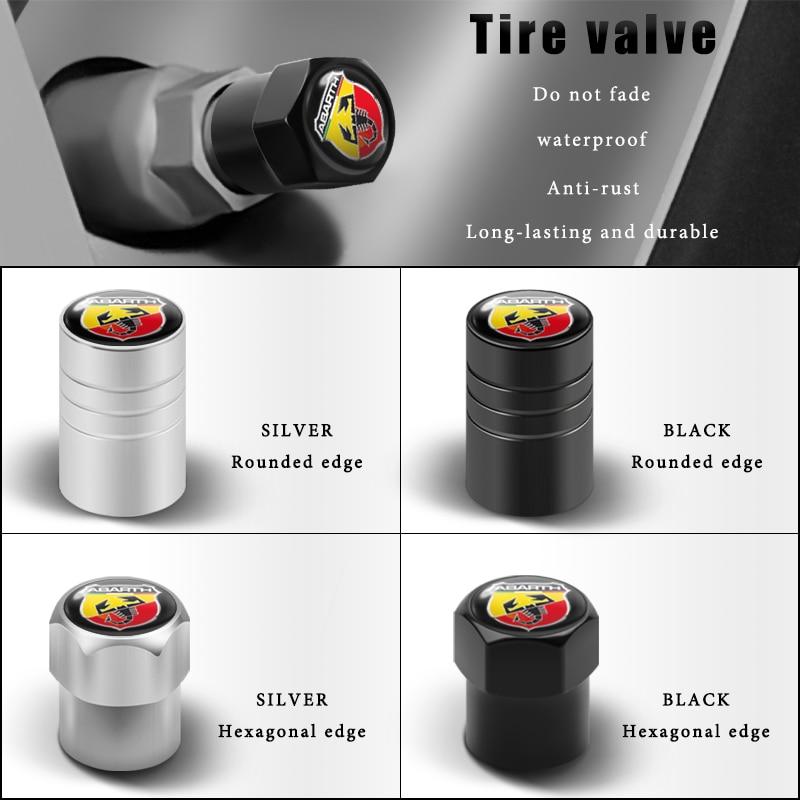 Auto Styling 4PCS 3D Metall Rad Reifen Ventil Stem Caps Abdeckung Für Fiat Abarth 124 125 500 Stilo Ducato palio Bravo Doblo Zubehör