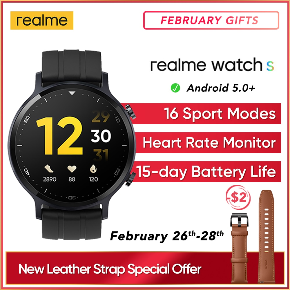 realme Watch S Global Version Smartwatch Waterproof 15 Day Battery Blood Oxygen Monitor Watch Music