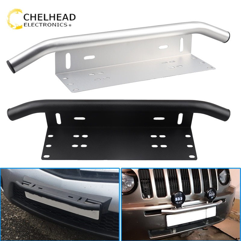 Universal license plate frame off road accessories front frame for car numbers light bar mount bumpe