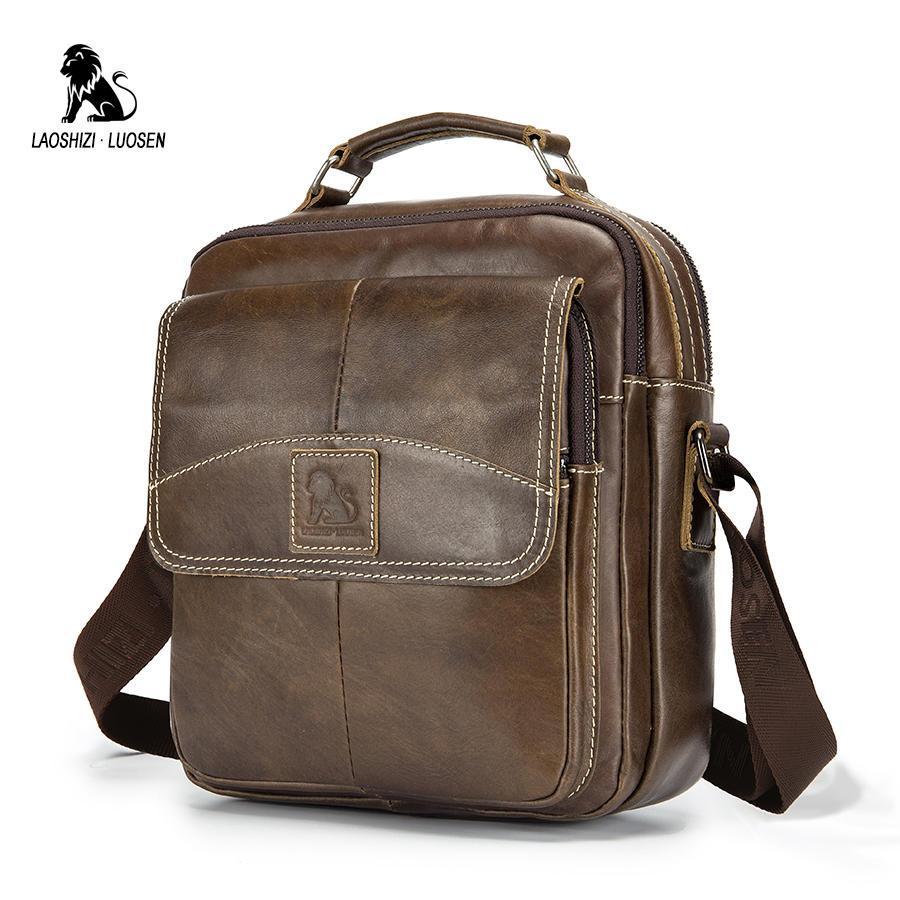 LAOSHIZI LUOSEN bolsos de bandolera para hombre de cuero genuino bolsa de mensajero pequeña para hombre Vintage nuevas bolsas de bandolera para hombre