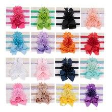 New 3pcs/lot Ribbon Bow Chiffon Flower Elastic Headbands Kids Photography Props Baby Girls Hair Accessories Gift Sets