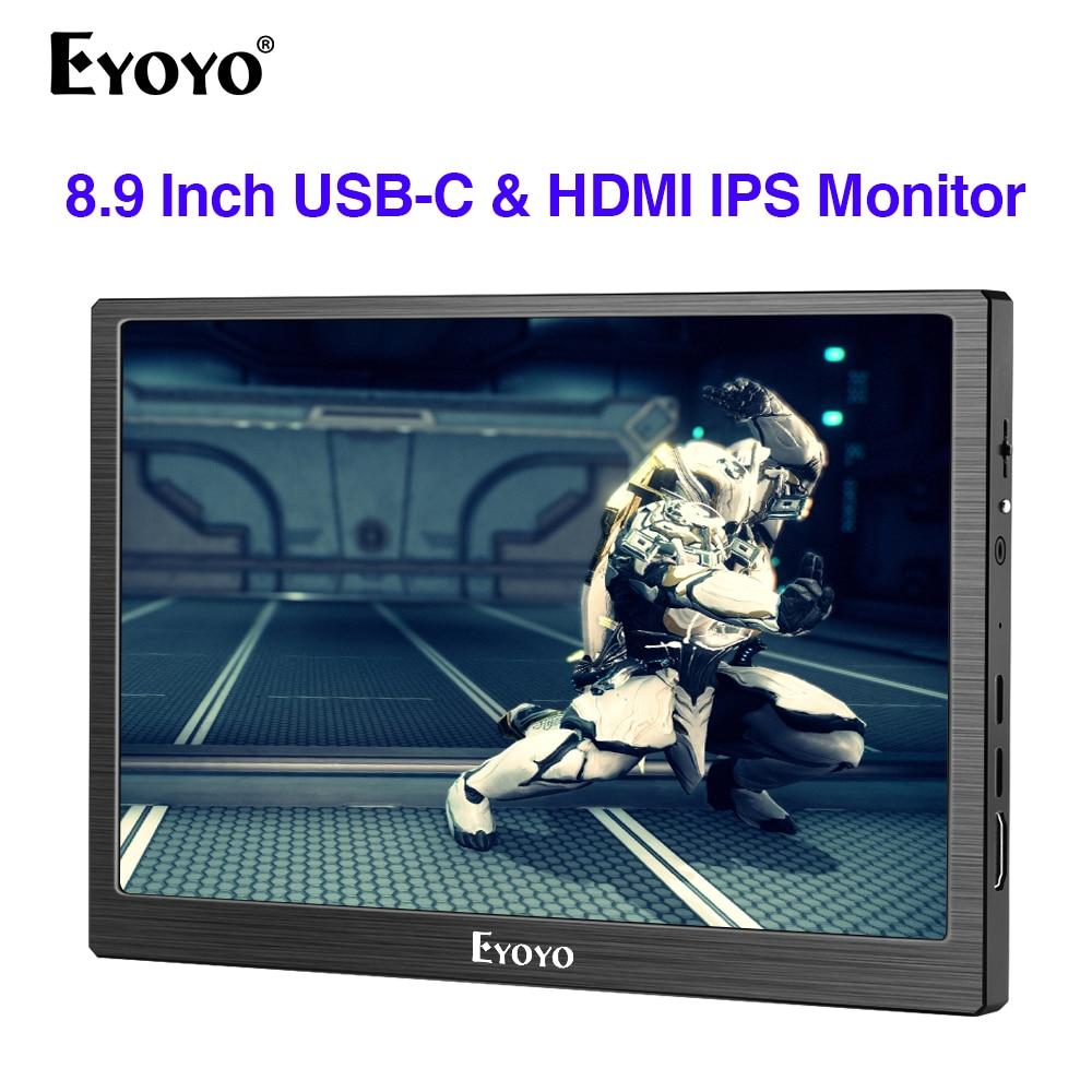 "Eyoyo 8,9 ""pulgadas portátil USB-C Mini Monitor 1920x1200 IPS pantalla USB-C y entrada de Video HDMI compatible con MAC portátil frambuesa p"