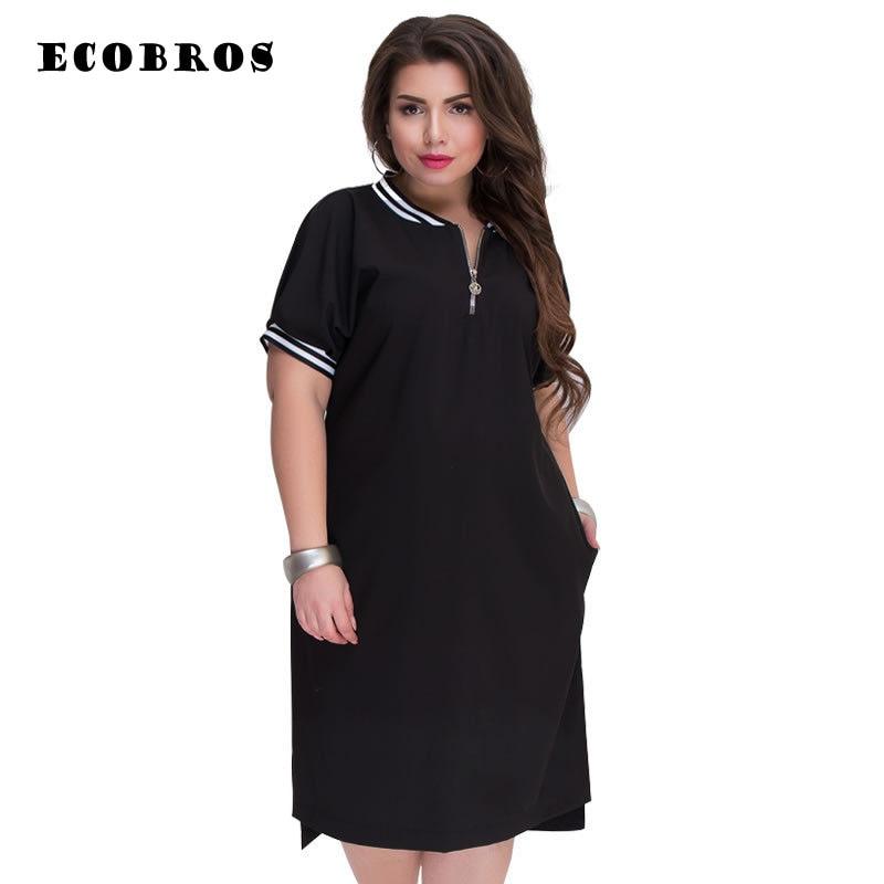 ECOBROS Big size 6XL 2020 Summer Fat MM Women dress Elegant solid patchwork dresses plus size women clothing 6xl dress vestido