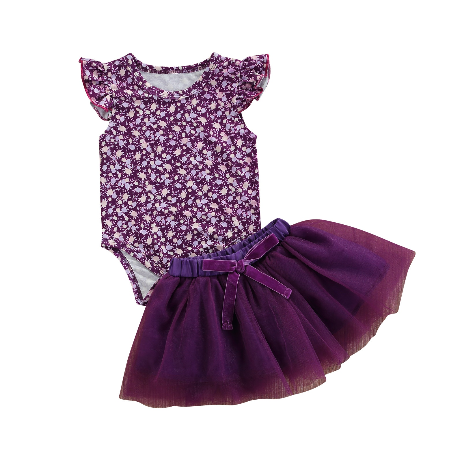OPPERIAYA 2Pcs Summer Outfits Floral O-Neck Ruffle Sleeves Bodysuit Elastic Tutu Skirt with Bowknot for Baby Girls 0-24 Months