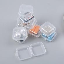 10 PCS mini small transparent plastic box jewelry earplugs to receive box container makeup drug store content box
