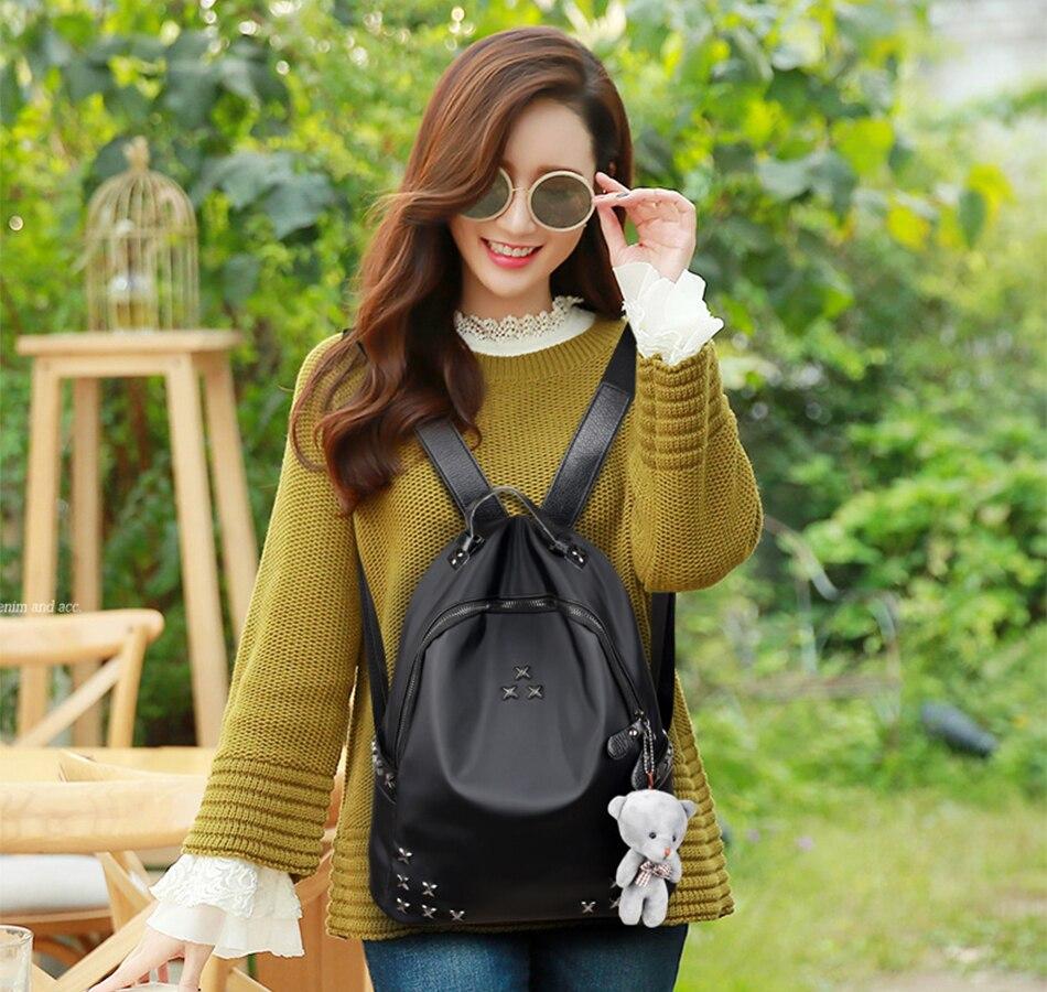 Rebite mini backpck saco de escola náilon oxford bolsa de ombro para mulheres mochilas-para-adolescentes-meninas mochila feminina saco de faculdade