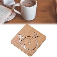 1pcs cute cartoon shape heat resistant drink coasters mat wooden round cup mat tea coffee mug placemat home decor kitchen supply