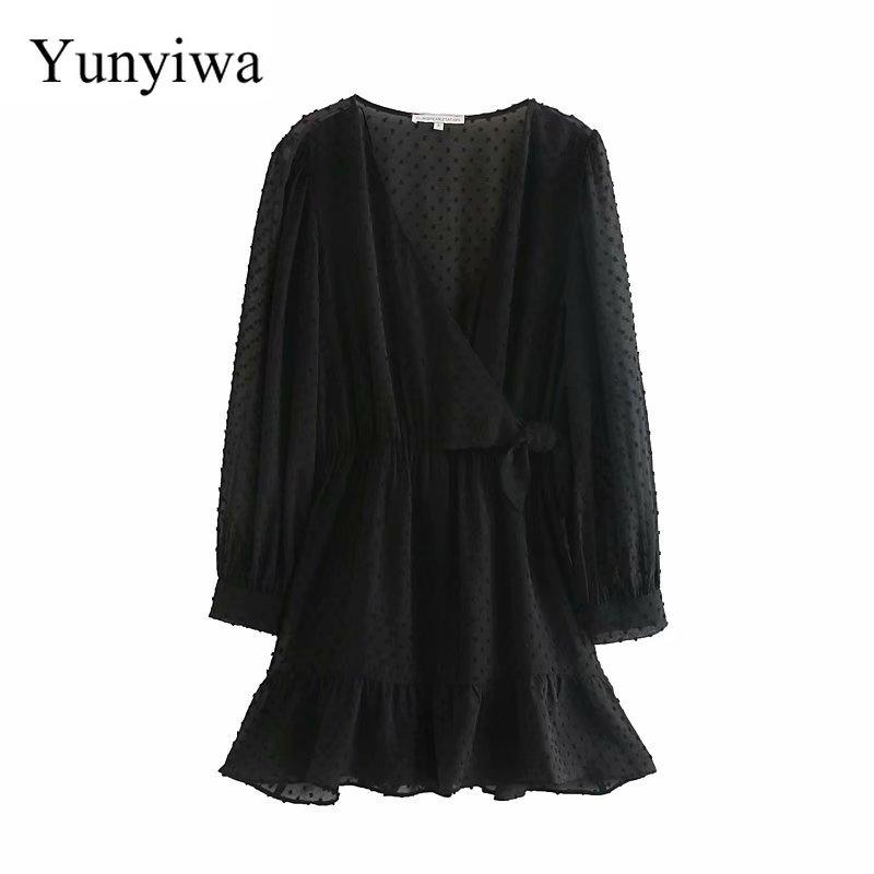 Feminino elegante manga longa babados chiffon pantskirt mini vestido senhora cruz v pescoço bowknot chique casual magro kimono vestidos