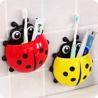 Boite de brosse a dents coccinelle  Animal insecte ventouse brosse a dents  support de rangement mural de salle de bains  decoration murale 1 pieces