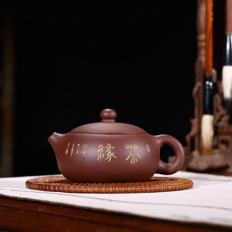 200cc Yixing الأرجواني الطين إبريق الشاي الخام الأرجواني الطين إبريق الشاي شقة Xishi مجموعة متنوعة إبريق الشاي هدية طقم شاي