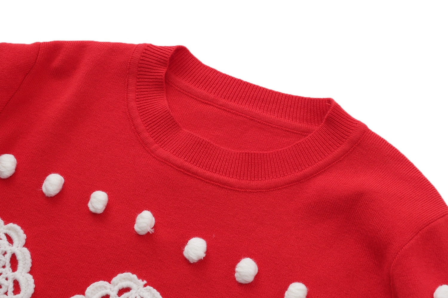 Winter  2021 Sweater Women Sweater Blue Beads Red  Crew Neck Long Sleeve Fashion Pullover  S ML enlarge