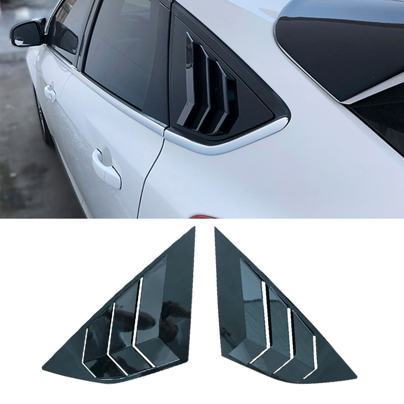Pcmos persianas de ventana lateral negras brillantes Ajuste de ventilación para Ford Focus 2012-2018 ST RS MK3 Hatchback 4D molduras de estilo nuevo 2 uds