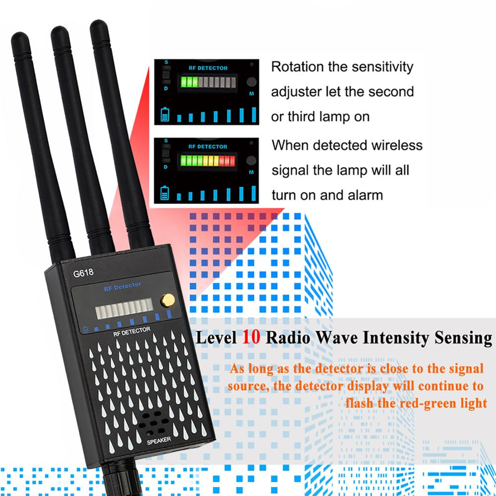 Profession RF Signal Detector Anti-Spy Tapping Anti Detector Eavesdropping Pinhole Audio Bug GSM Device Finder Anti Spy Gadgets enlarge