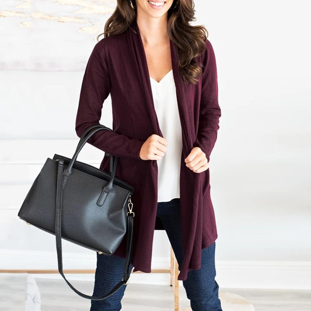 Cardigan tipo Kimono informal a la moda para mujer, suéter tejido de manga larga de Color liso, Chaqueta de punto, gris, verde, naranja, vino, negro, S-XL