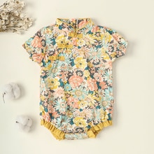 New Girl's 0-24M Cheongsam Romper Baby's Floral Printed Short Sleeve Side Buttons Back Zipper Jumpsu