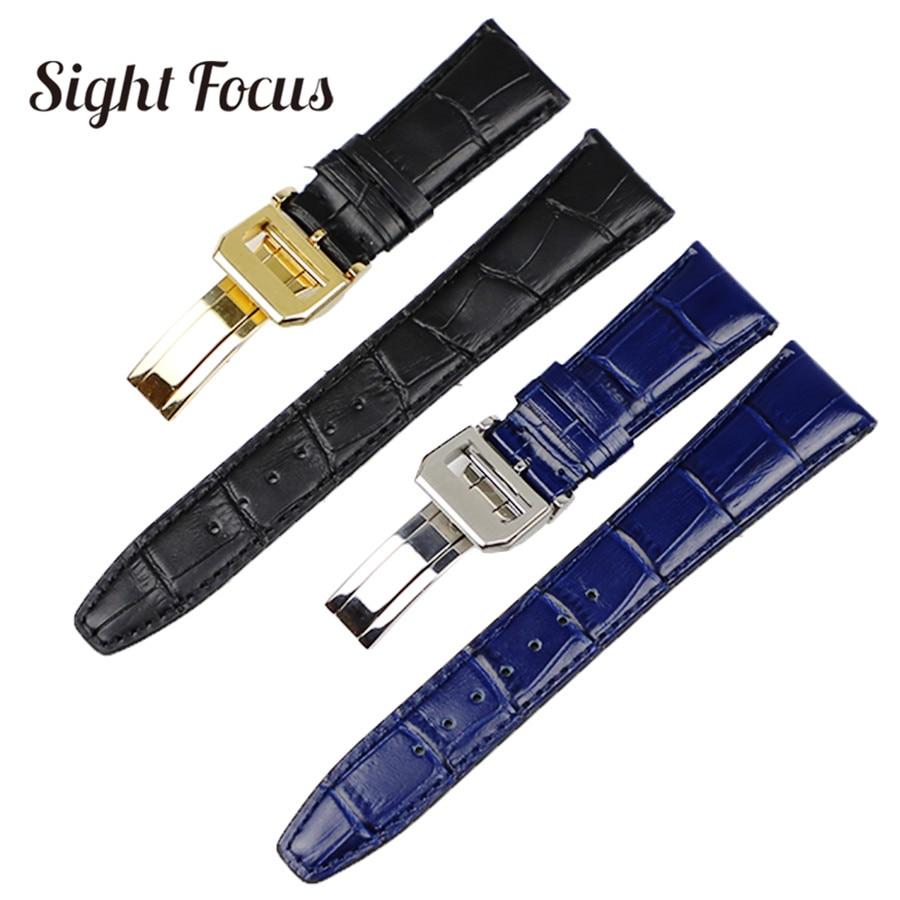 22mm Men's Blue Watch Band for IWC Calf Leather Watch Strap Alligator Croc Grain CHRONOGRA Bracelet Belt Long Short VersionBand
