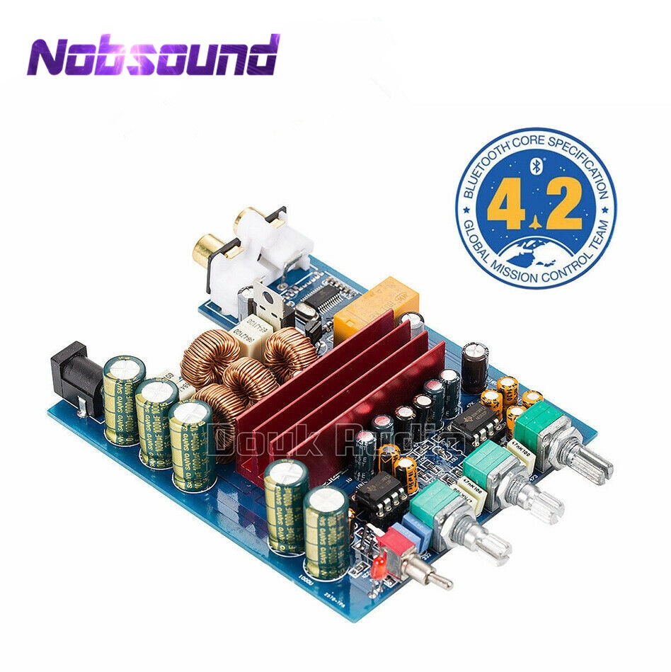 Nobsound-مضخم طاقة رقمي صغير ، 100 واط * 2 ، بلوتوث 4.2 ، TPA3116 ، ستيريو HiFi ، مع تحكم مستقل ثلاثي/باس