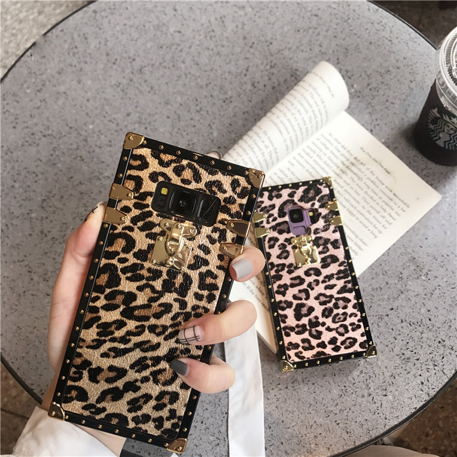 Caso de telefone para iphone11 pro max x xr xs max 6 6 s 8 7 plus praça leopardprint capa para samsung s8 s9 s10 plus nota 8 9 10 pro