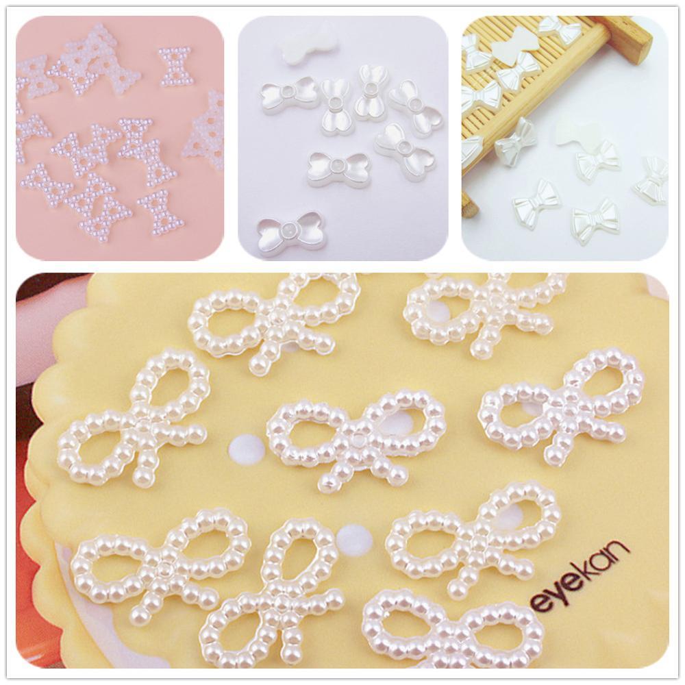 Blanco/Marfil/mezcla de colores espalda plana bowknot forma perla de imitación ABS cuentas para DIY bisutería para álbum de recortes decoración de fiesta de boda