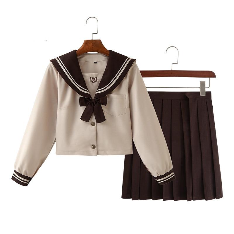 Women Milk Tea Sailor Suit Cute Girls Student JK Uniforms Japanese School Uniforms Pleated Skirt