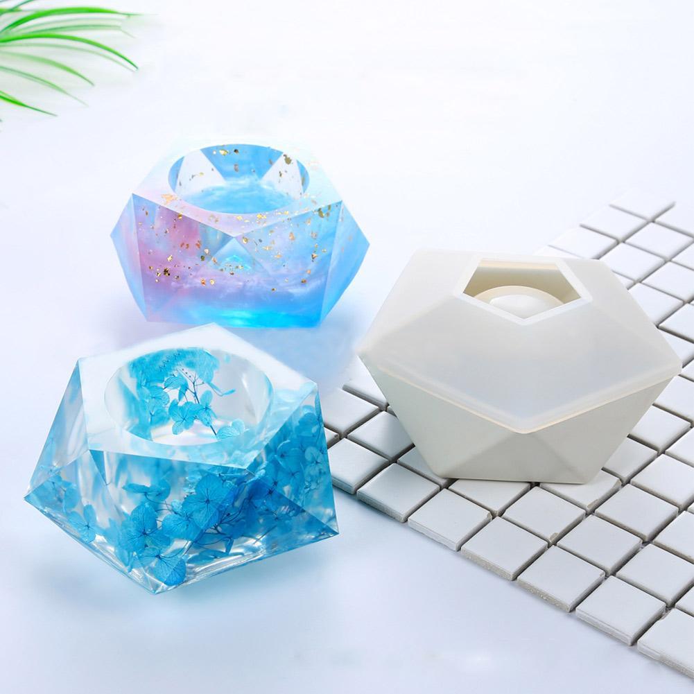 Molde de silicona en maceta, molde de yeso de concreto, pegamento de cristal, molde epoxi tridimensional polígono Hexagonal DIY