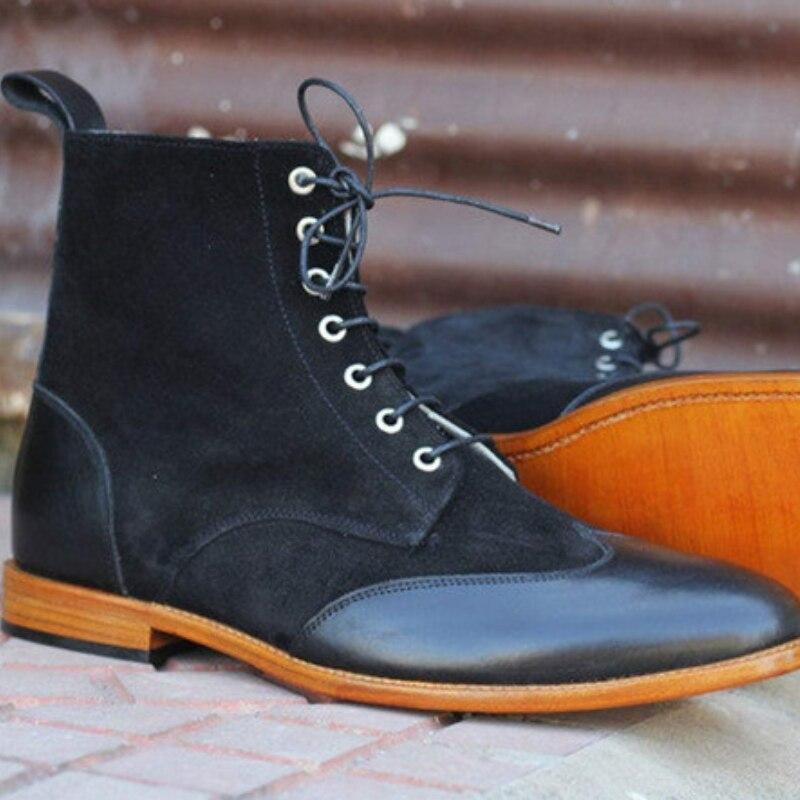 جديد بو الجلود خياطة الرجال الرسمي الكاحل عالية الجناح وأشار الأحذية الأعمال عارضة مارتن الأحذية دراجة نارية أحذية ركوب الخيل 5KE473