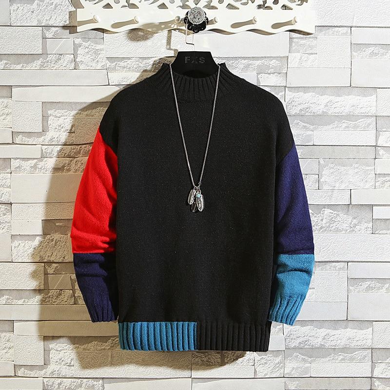 ¡Nuevo de punto 2020! Suéteres negros de cuello alto para hombre de Corea, jersey de manga larga para otoño e invierno, Jersey de punto con cuello redondo Plus de talla grande 5XL 6XL 7XL