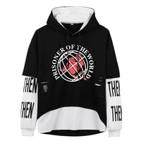 hip hop pullover prisoner of the world ribbon hoodies oversize patchwork streetwear hooded fake two pieces wholesale men clothes