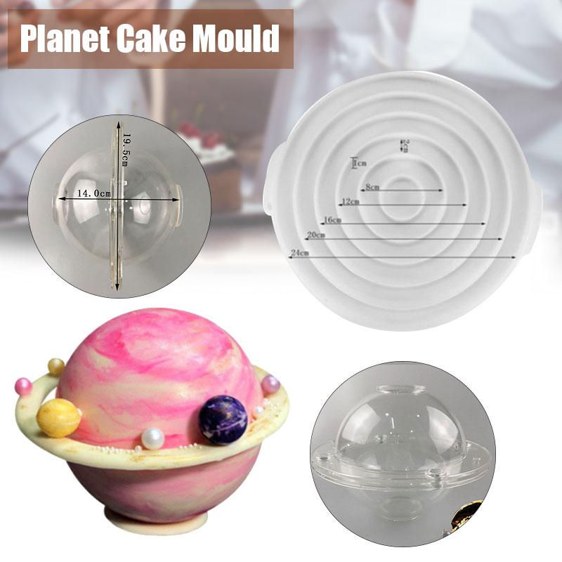 Molde de pastel de planeta 3D, moldes de Chocolate de plástico/cono para panadería, molde para tarta o Mousse, herramientas de cocina para hornear K888