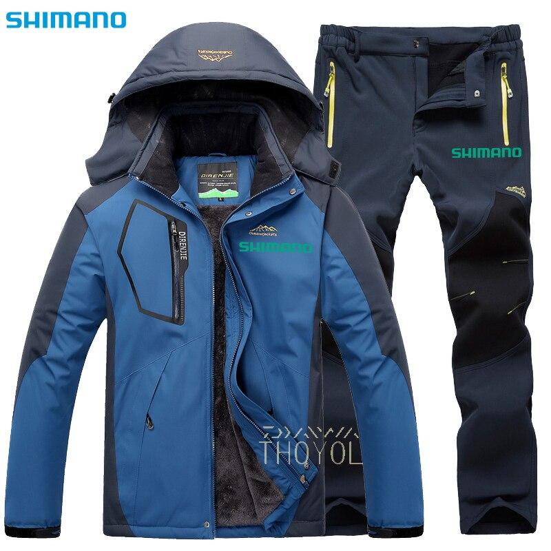 Shimano Winter Fishing Suit Men Fishing Jakcet Waterproof Fishing Pants Outdoor Wear Hooded Sport Windproof Warm Fishing Clothes enlarge