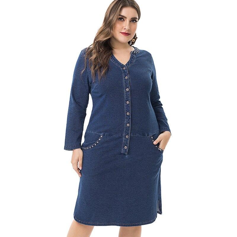 Primavera y otoño 2020, vestido de tela vaquera de talla grande para mujer, ropa elegante, Vestido de manga larga XL-5XL