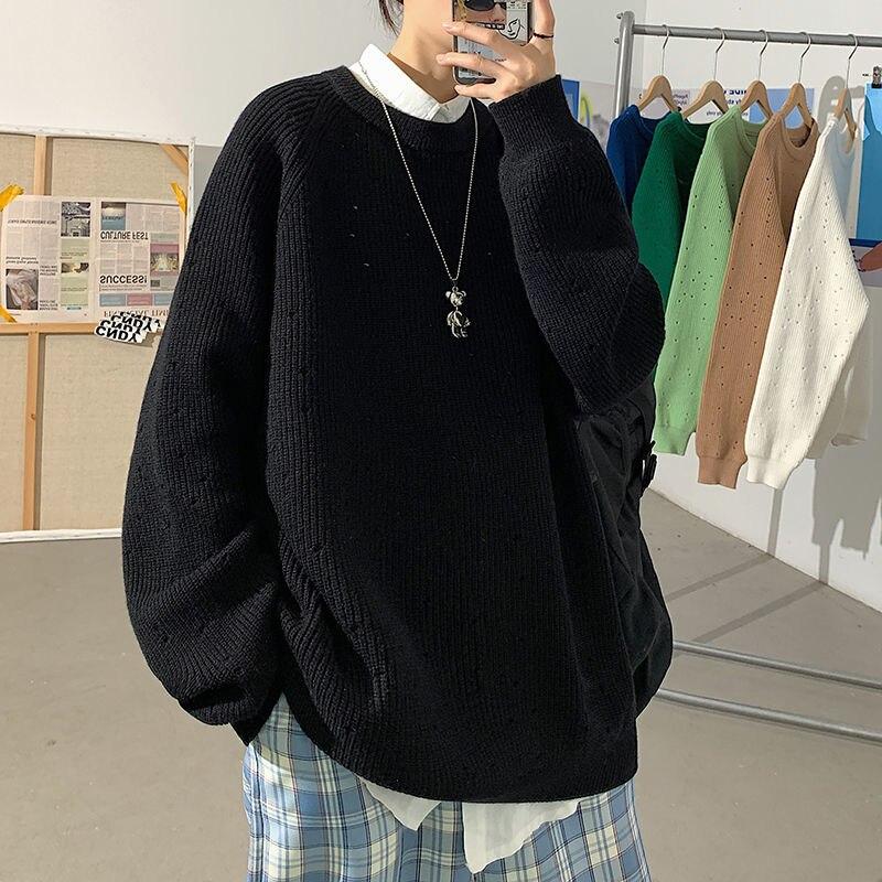 Однотонный утепленный мужской зимний свитер с дырками, теплый пуловер оверсайз, Корейская одежда, модная мужская одежда в стиле Харадзюку