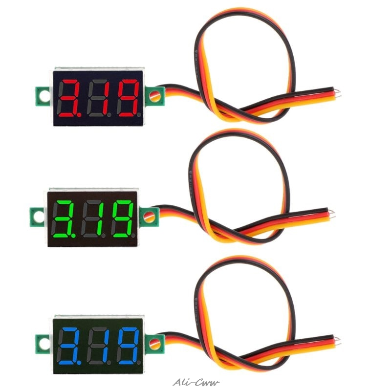 Mini 0,36 pulgadas DC 0-100v 3 bits rojo Digital Panel de visualización LED del voltímetro del medidor de tensión de