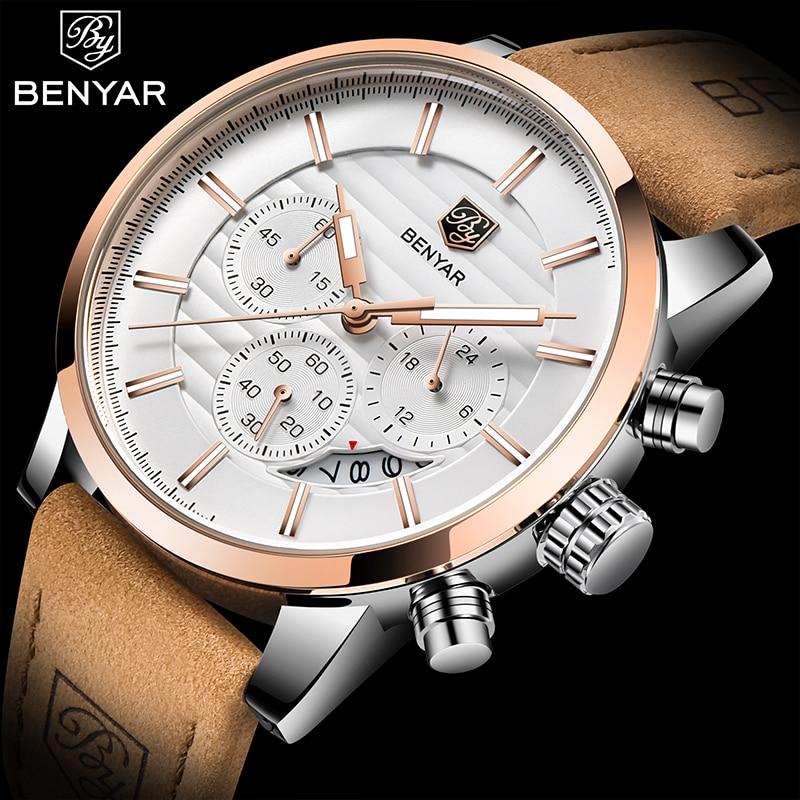 Benyar New Watches Men Luxury Brand Chronograph Sports Waterproof Leather Quartz Mens Watch Relogio Masculino