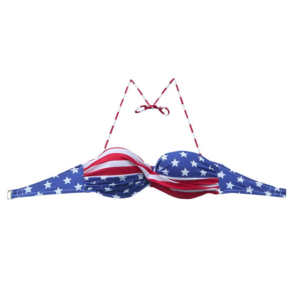 Bikini Top para mujer, bikinis con RAYA ROJA de estrellas azules, maillot de baño, bikini sexi para mujer, traje de baño con diseño de taza para niña, trajes de baño