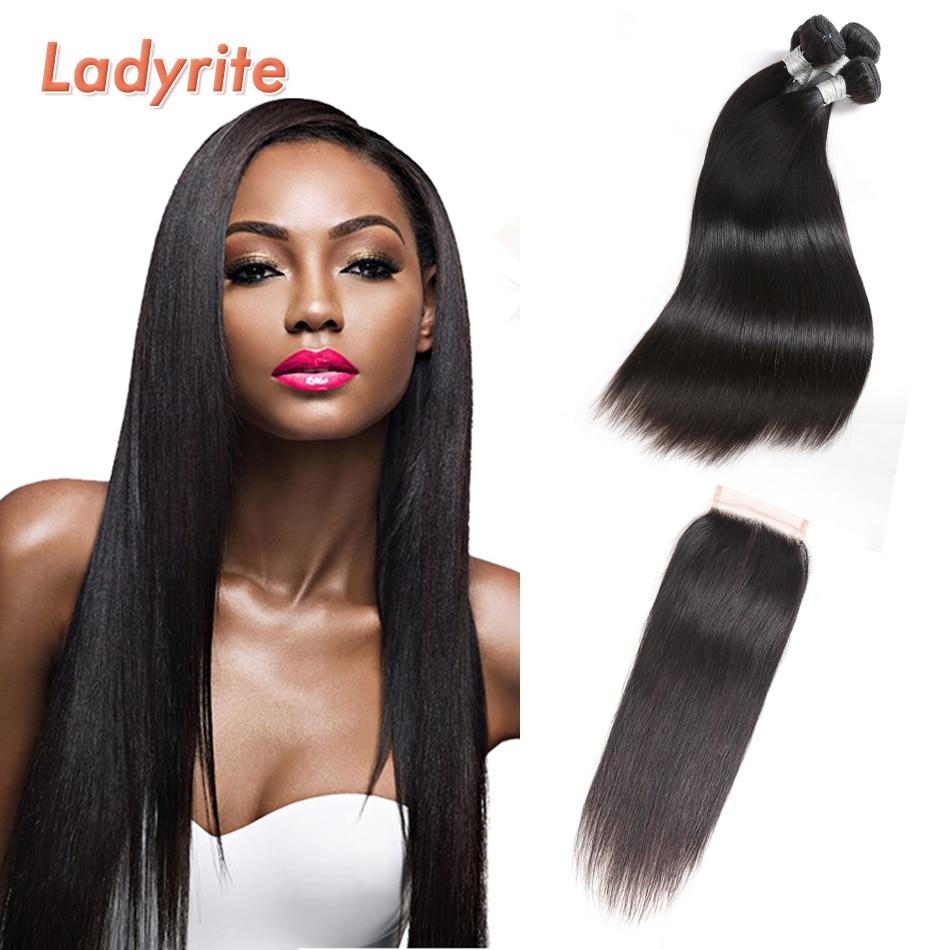 Ladyrite-وصلات شعر ريمي برازيلية ناعمة ، مجموعة من 3 ، 4 × 4 ، أسود طبيعي