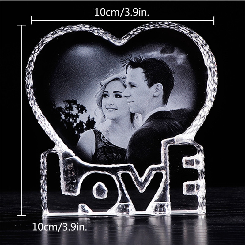 Custom Printed Color Photo text gift LED RGB night light rotatable base K9 crystal MP3 music Bluetooth remote control enlarge