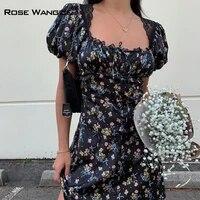 temperament accepts waist to show thin skirt 2021 women clothing summer retro ancient ways square collar broken flower dress